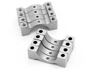 Silber eloxiert CNC Halbkreis Legierung Rohrschelle (incl.screws) 15mm
