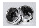 Maßstab 1:10 Rad Set (2 Stück) Chrom / Schwarz 5-Speichen- RC Car 26mm (kein Offset)