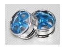 Maßstab 1:10 Rad Set (2 Stück) Blau / Chrom-5-Speichen- RC Car 26mm (kein Offset)