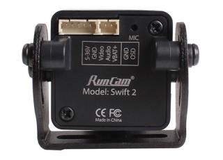 RunCam Swift 2 600TVL FPV Camera NTSC (Black) (Top Plug) - rear view