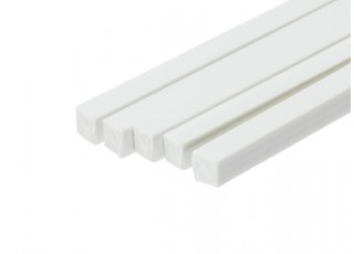 ABS Square Rod 5.0mm x 5.0mm x 500mm White (Qty 5)