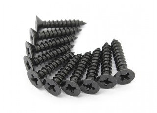Screw Flat Head Phillips M3x14mm Self Tapping Steel Black (10pcs)