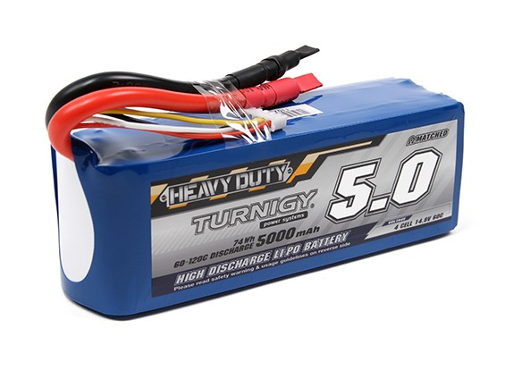 Turnigy Heavy Duty 5000mAh 4S 60C Lipo Pack w/5.5mm Connectors