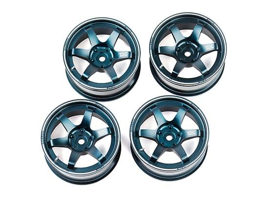"DC Chequered Flag 1:10 6 Spoke 2"" Alloy Drift Hub Wheels Blue/Silver (4pcs)"