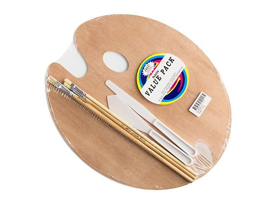 Wooden Palette with Painting Knives and Brushes