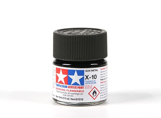 Tamiya X10 Gloss Gun Metal Acrylic Paint (10ml)