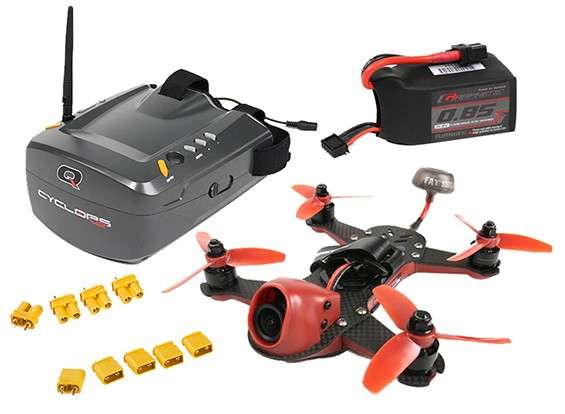 ImmersionRC Vortex 150 Drone Quanum Cyclops V2 FPV Goggle with Batteries and Parts Combo Set