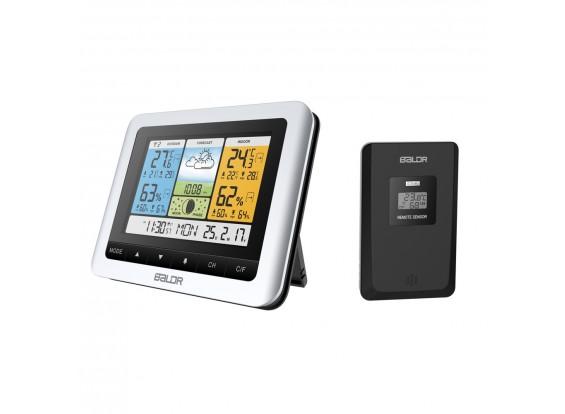 BALDR B0316 Color Weather Station with Forecast Hygrometer Thermometer Clock Outdoor Sensor (Eu Plug)