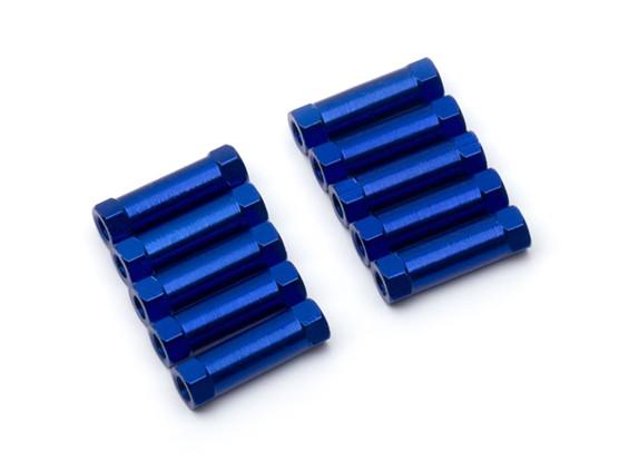 Ligera Ronda de aluminio Sección espaciador M3x17mm (azul) (10 piezas)