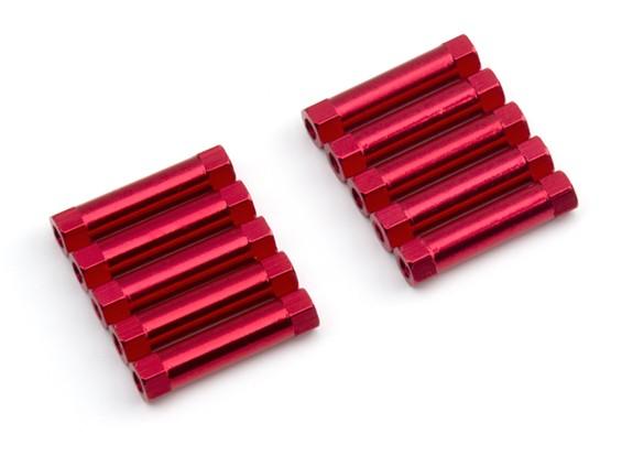 Ligera Ronda de aluminio Sección espaciador M3x22mm (rojo) (10 piezas)