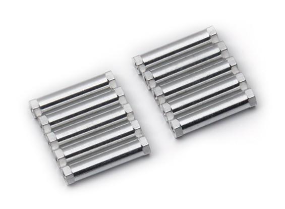 Ligera Ronda de aluminio Sección espaciador M3x24mm (plata) (10 piezas)
