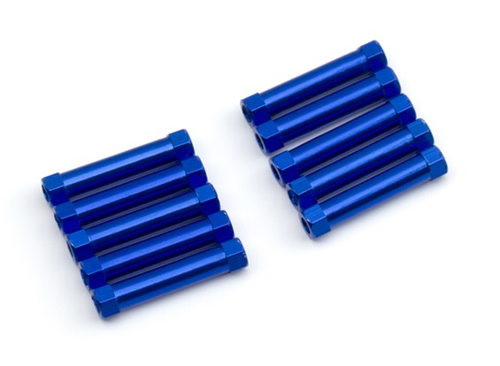 Ligera Ronda de aluminio Sección espaciador M3x25mm (azul) (10 piezas)