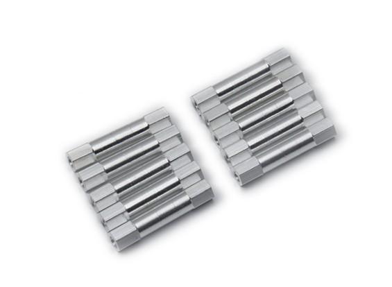 Ligera Ronda de aluminio Sección espaciador M3x26mm (plata) (10 piezas)