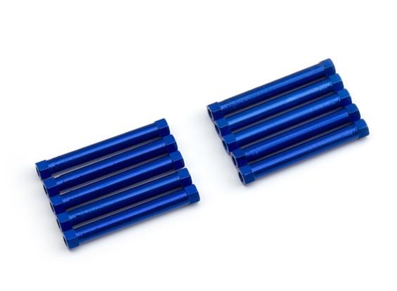 Ligera Ronda de aluminio Sección espaciador M3x26mm (azul) (10 piezas)
