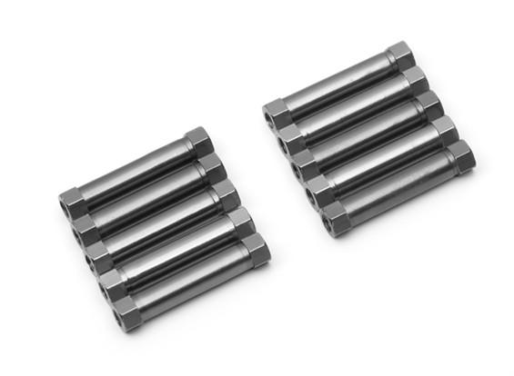 Ligera Ronda de aluminio Sección espaciador M3x26mm (titanio) (10 piezas)