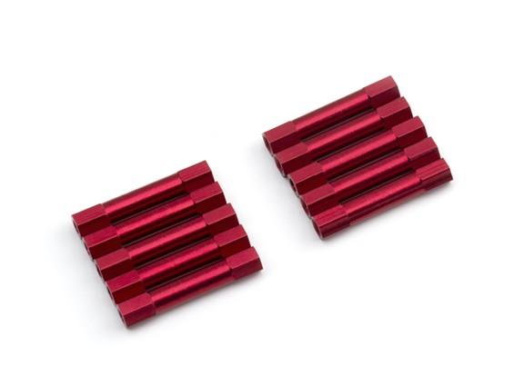 Ligera Ronda de aluminio Sección espaciador M3x29mm (rojo) (10 piezas)