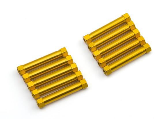 Ligera Ronda de aluminio Sección espaciador M3x29mm (oro) (10 piezas)