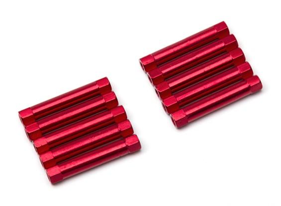 Ligera Ronda de aluminio Sección espaciador M3x30mm (rojo) (10 piezas)