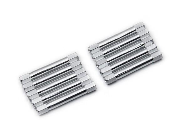 Ligera Ronda de aluminio Sección espaciador M3x37mm (plata) (10 piezas)