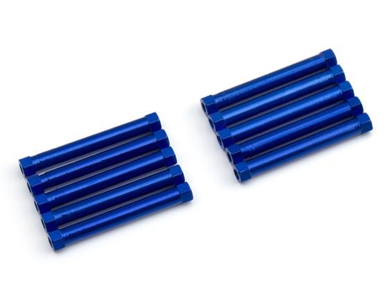 Ligera Ronda de aluminio Sección espaciador M3x38mm (azul) (10 piezas)