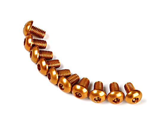 7075 Alu. M3 Ronda de oro cabeza del tornillo de 5 mm