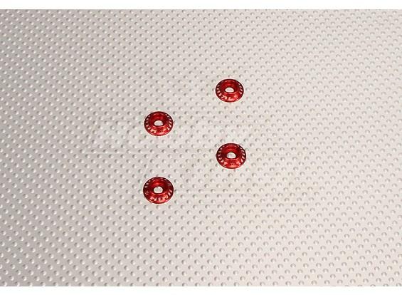 CNC con bridas Lavadora 4.0 (M4, # 8-32) Rojo