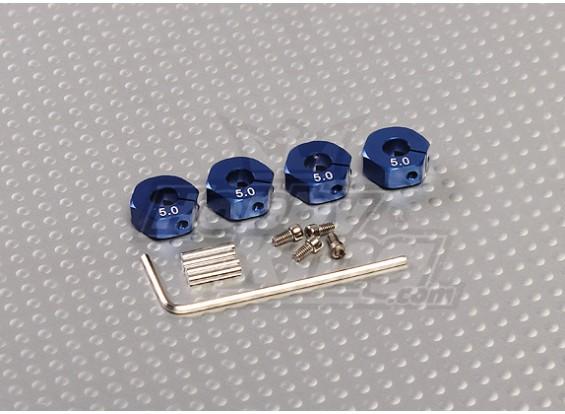 Adaptadores de ruedas de aluminio de color azul con tornillos de seguridad - 5 mm (12 mm Hex)