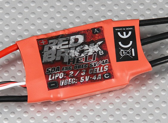 HobbyKing ladrillo rojo 50A ESC - (Modo Heli)