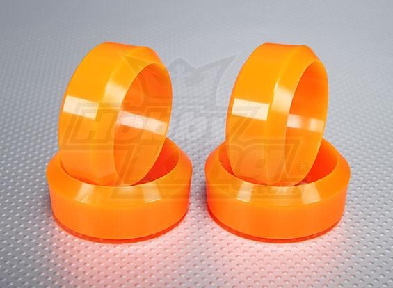 Escala 1:10 de plástico duro de la deriva del neumático Conjunto de neón naranja RC 26 mm de coches (4pcs / set)