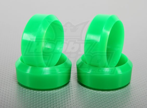 Escala 1:10 de plástico duro de la deriva del neumático Conjunto verde de neón del coche RC de 26 mm (4pcs / set)