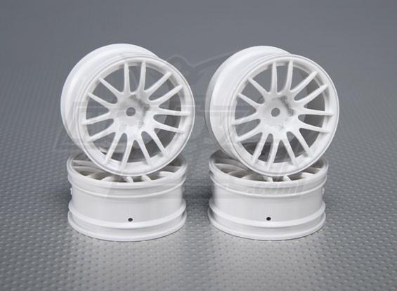 Escala 1:10 Juego de ruedas (4pcs) Blanco de Split y 7 rayos RC 26 mm de coches (3 mm de desplazamiento)