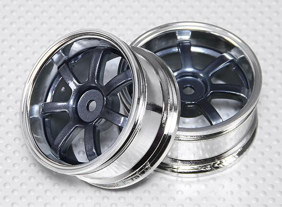 Escala 1:10 Juego de ruedas (2pcs) Gris / Chrome 5 rayos 26mm RC Car (3 mm offset)