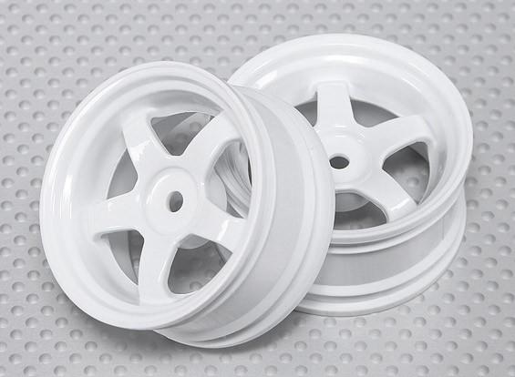 01:10 ruedas para fijar la escala (2 unidades) Blanco 5 rayos 26mm RC Car (3 mm de desplazamiento)