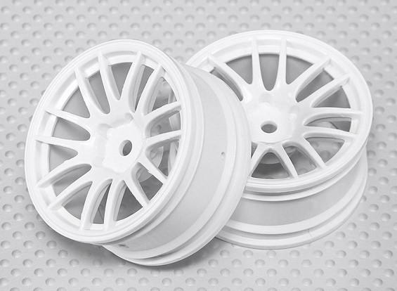 Escala 1:10 Juego de ruedas (2pcs) Blanco de Split y 7 rayos RC 26 mm de coches (3 mm de desplazamiento)