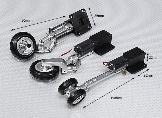 Servoless tren de aterrizaje retráctil V2 (triciclo) con la pierna de Oleo y ruedas de aleación