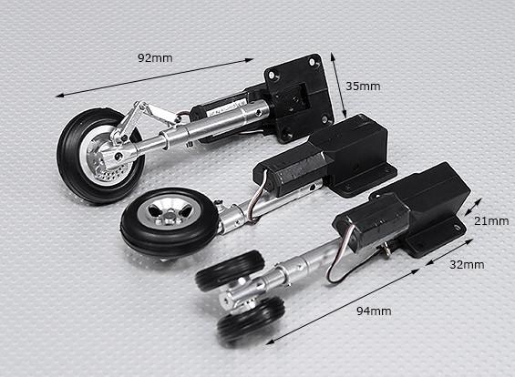 Servoless tren de aterrizaje retráctil V2 (triciclo) con la pierna de Oleo y ruedas de aleación (Short Set)