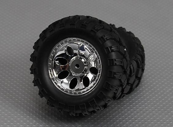 1/10 orugas Meteor 90mm Ruedas Y Neumáticos 12mm hexagonal (2 piezas)
