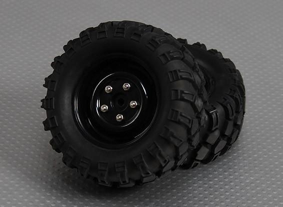 1/10 orugas 90mm Ruedas Y Neumáticos 12mm hexagonal (2 piezas)