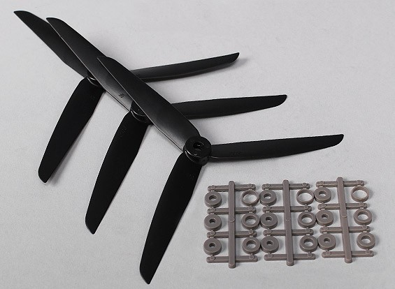Hobbyking ™ 3 pala de la hélice 7x3.5 Negro (CW) (3pcs)