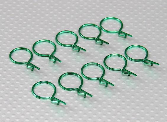 Clips cuerpo a gran anillo (verde) (10 piezas)