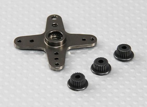 Cruz de aluminio universal brazo de Servo - JR, Futaba y HITEC (gris oscuro)