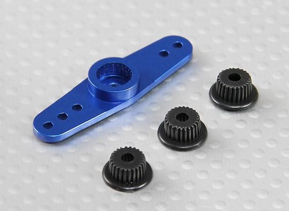 Universal de aluminio de dos vías brazo de Servo - JR, Futaba y HITEC (azul)