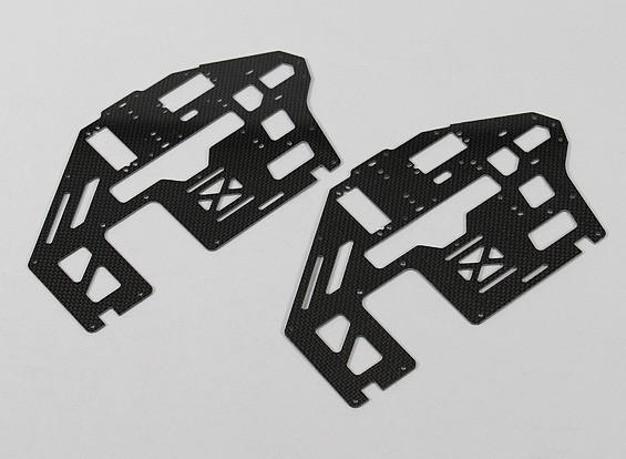 Trex / HK500 1,6 mm fibra de carbono principal Conjunto de bastidor laterales (2pcs / bolsa)