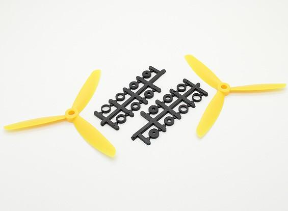 Hobbyking ™ 3 pala de la hélice 5x4.5 amarillo (CW / CCW) (2pcs)