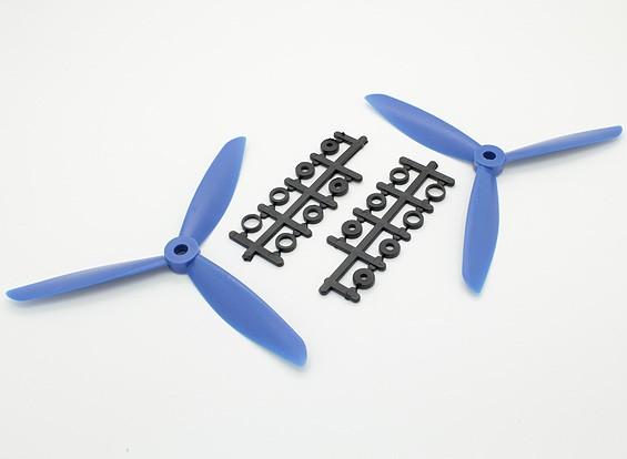 Hobbyking ™ 3 pala de la hélice 6x4.5 Azul (CW / CCW) (2pcs)
