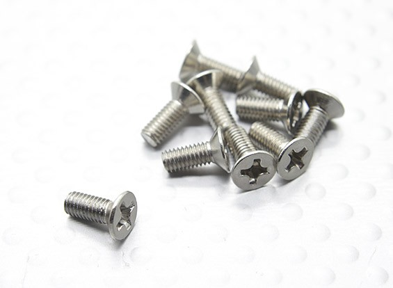 Cabeza plana Tornillo Cruz 3x8mm 1/16 Turnigy 4WD Nitro Racing Buggy (10pcs / bag)