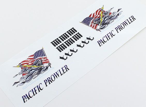 """TD-025 Arte de la nariz - """"MERODEADOR PACIFIC"""" (bandera americana) L / R Handed Decal"""