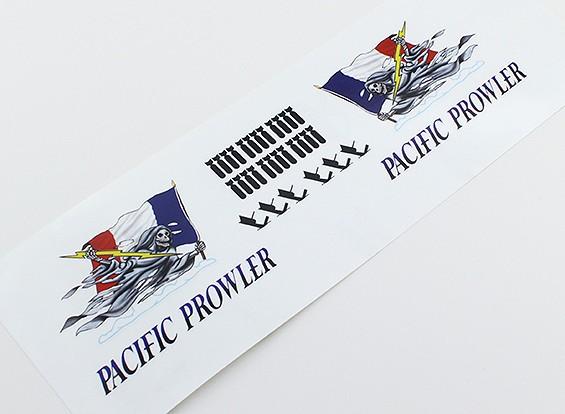 "TD-027 Arte de la nariz - ""MERODEADOR PACIFIC"" (la bandera francesa) L / R Handed Decal"
