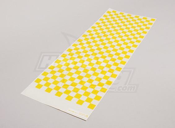 Hoja de la etiqueta pequeña Chequer patrón / Borrar 590mmx180mm amarillo