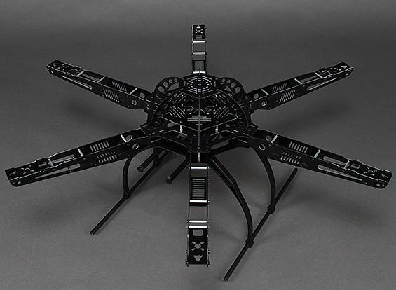 655mm Marco HobbyKing S650 fibra de vidrio Hexcopter